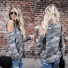 Womens Ladies Camouflage Army Printed Long Sleeve T Shirt Top Cold Shoulder Tops