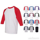 New! Raglan 3/4 Sleeve Baseball Mens Plain Tee Jersey Team Sports S-3XL T-Shirt image