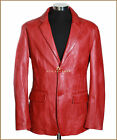 Milano Red Mens Smart 2 Button Real Soft Lambskin Leather Blazer Jacket