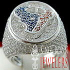 MENS REAL 14K WHITE GOLD STERLING SILVER LAB DIAMOND DESIGNER PINKY RING BAND