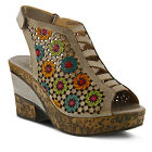 New L'Artiste Women's Gray BEWITCHED-GRY Leather Wedge Sandals
