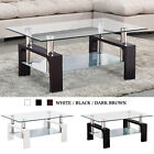 Interior decorator Glass Rectangular Coffee Table Shelf Chrome Wood Living Room Furniture
