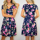 Summer Women Casual Floral Printed Short Sleeve V-neck Plain Skater Party Dress