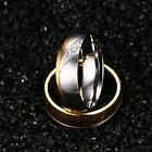 Women Men Stainless Steel 18K Gold Wedding CZ Band Ring