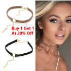 Leather Choker Charm Necklace Vintage Hippy Chocker Retro Black Leather Cord