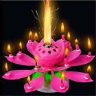 Musical Lotus Candle Flower Rotating Happy Birthday Party Cake Light Lamp Decor
