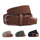 New Mens Stretch Braided Elastic Woven Canvas Buckle Belt Waistband Waist Straps