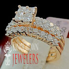 LADIES 14K ROSE GOLD ON SILVER SOLITAIRE CLUSTER ENGAGEMENT WEDDING 3 RING SET