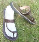 100% MOROCCAN LEATHER  TOE LOOP BEACH SANDALS BROWN * 3 sizes available