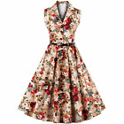 50s 60s ROCKABILLY Women Lapel Swing Pinup Dress Housewife Evening Prom Vintage