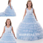 Blue Flower Girl Dresses Communion Party Prom Princess Pageant Bridesmaid Gowns