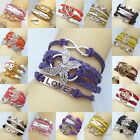Womens Mens Retro Owl Butterfly Bangle Charm Infinity PU Leather Bracelet Lots