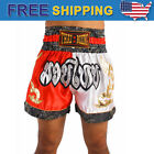New Boxing Shorts Muay Thai MMA Trunks Satin Trousers 2 Tone White Red M-3XL