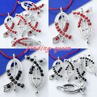 5x Rhinestone Ribbon Cross Side Ways Connector Loose Beads For Bracelet Findings