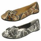 Spot On Ladies Flat Snake Print Ballerina