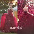 Red New Flower Girl Dress Spaghetti Elegant Princess Birthday Party Pageant Gown