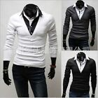 Trend POLO Style Men's 2 in 1 Casual T-Shirt Fashion Tee Slim Fit Tops Shirts