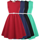 Girls Solid Dress 1950s Vintage Style PINUP Swing Evening Kids Party DANCE Gown