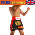 New Boxing Shorts Kickboxing Trunks Satin Dragon Muay Thai Trousers Black M-3XL