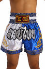 New Boxing Shorts Muay Thai Kick Trunks Satin Trousers 2Tone White Blue M-3XL UK