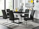 GIOVANI Black White High Gloss Glass Dining Table Set and 6 Leather Chairs Seats