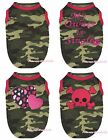 Hot Pink Camouflage Top T-Shirt Heart Skull Pet Dog Puppy Cat One Piece Clothing
