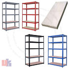Heavy Duty Metal 5 Tier Boltless Shelving Racking in Blue Red Black Grey Colour