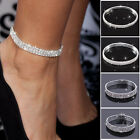 Silver Anklet Chain Bracelet 2 3 4 5 Rows Ankle Stretchy Diamante Rhinestones Uk