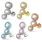 Stainless Steel Triple Round Gem Cartilage Helix Upper Ear Earring Choose Colour