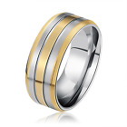 Men's Gold and  Silver Stripe Stainless Steel Band Rings Gift Size 8 9 10 11