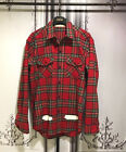 New White Painting Graphic Long Sleeves Plaid Check Shirts Red Green