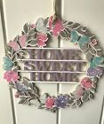 GISELA GRAHAM LASER CUT WOOD FRETWORK HOME SWEET HOME FLORAL WREATH DECORATION