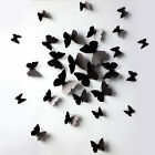 Black 3d Diy Wall Sticker Butterfly Home Room Decor Decorations 12 Pcs Set