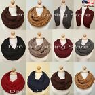 Women's Thick Warm Winter Infinity Circle Cable Knit Cowl Long Scarf Shawl Wrap