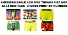 AMERICAN EAGLE LOW RISE TRUNKS SIZE MED 32-34 CHOOSE BY NUMBER NEW/TAGS