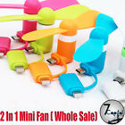 Wholesale Lot 2 In 1 Portable Mini Electric Fan Cooler For iPhone Android Samsun