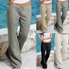 Plus Size Womens Solid Pants Casual Loose Beach Wear Long Pants Trousers GT