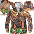 Boys Girls Moana Maui Cosplay Hooded Sweatshirt Halloween Hoodies Party Coat