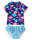 NWT Gymboree Girls Swim Swimsuit 2pc Blue School Fish Rashguard FREE US SHIP NEW