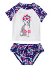 NWT Gymboree Girls Swim Swimsuit 2pc Blue White Puppy Rashguard FREE US SHIP NEW