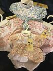 Baby Girls Cotton Summer Dress Set Flowers with Bloomers Hat 0-3 3-6 6-9 Months