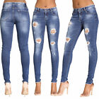 Womens Ripped Jeans Knee Cut Jeans Skinny Fit Ladies Stretchy Denim Size 6-14
