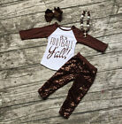 Girls It's Football Y'all Brown Sparkle Sequin Raglan Outfit Necklace Set 2T-7
