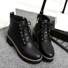Womens Punk Combat Shoes Lace Up Chunky Block Heel Motor Riding Ankle Boots Size
