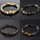 Men Natural Stone Lion Buddha Beaded Charm Fashion Diy Handmade Bracelets Gift