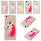 for iPhone 5 S 6 7 Plus Case 3D Unicorn Glitter Liquid Flowing Soft TPU Cover