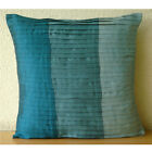 """Color Block 16""""x16"""" Art Silk Blue Throw Pillows Cover For Couch - Shades Of Teal"""