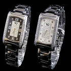 MEN'S NEW WHITE GOLD FINISH GENUINE LAB DIAMOND WRIST DRESS WATCH SOLID METAL