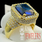 Mens 925 Silver Lab Diamond Radiant Cut Blue Sapphire Solitaire Rick Ross Ring