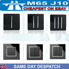 Modern Black Gloss 1, 2 3 Gang Light Switch Designer Glass Rocker Minimalist NEW